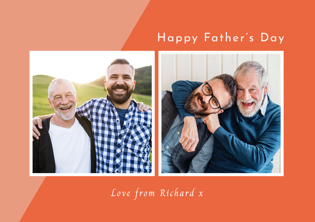 Create Photo Father's Day Card Two Tone Collage Card