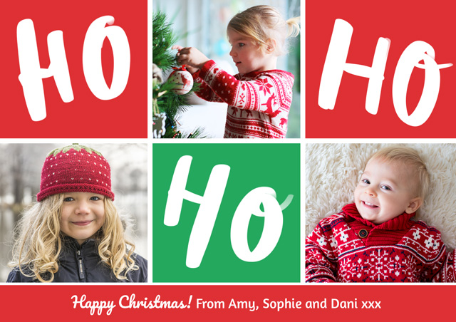 Create a Photo Christmas Card Collage Ho Ho Ho Photo Card