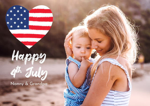 Create Photo Card 4th July United States Flag Heart Card