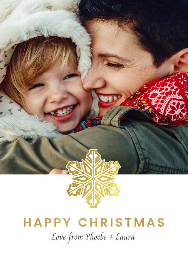 Create a Photo Christmas Card Single Snowflake Greeting Card