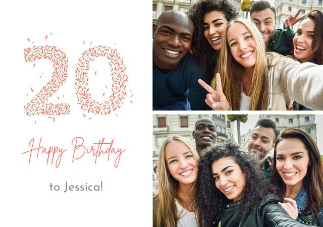 Photo Card Birthday Milestone 20 Sprinkles Collage