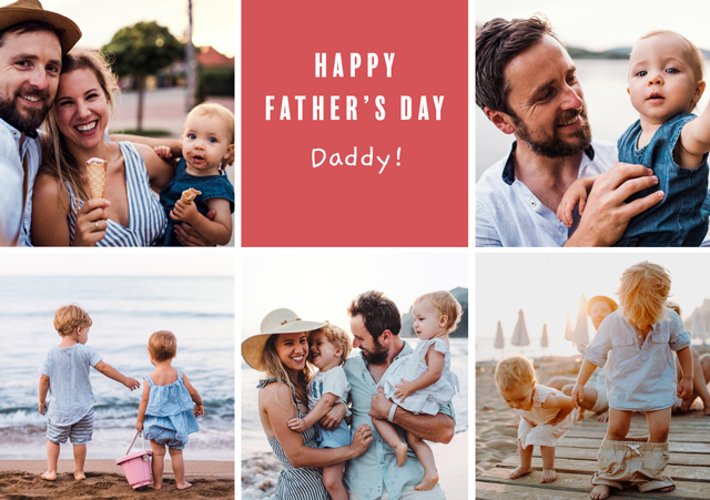 Create a Photo Father's Day Card Collage 5 Photos Photo Card