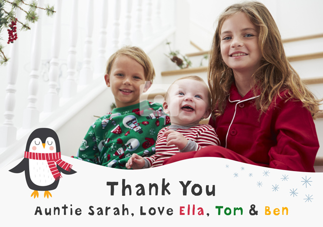 Create a Photo Thank You Card Penguin Photo Card