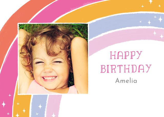 Create Photo Card Birthday Magic Rainbow Card