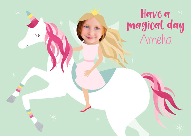 Create a Unicorn & Princess  Greeting Card