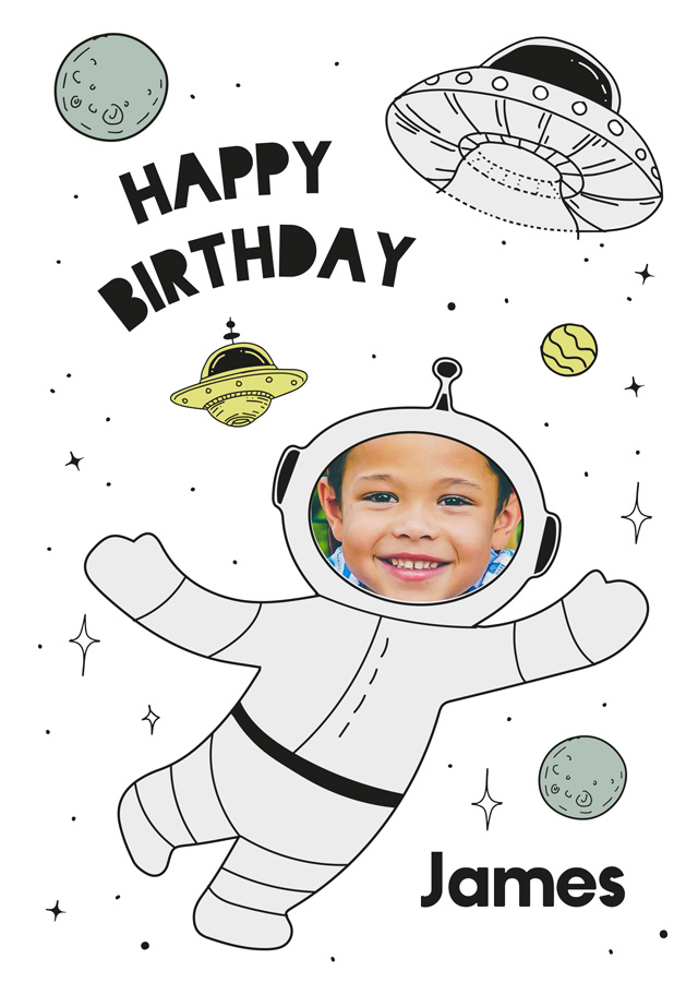 Create a Birthday Spaceman Greeting Card