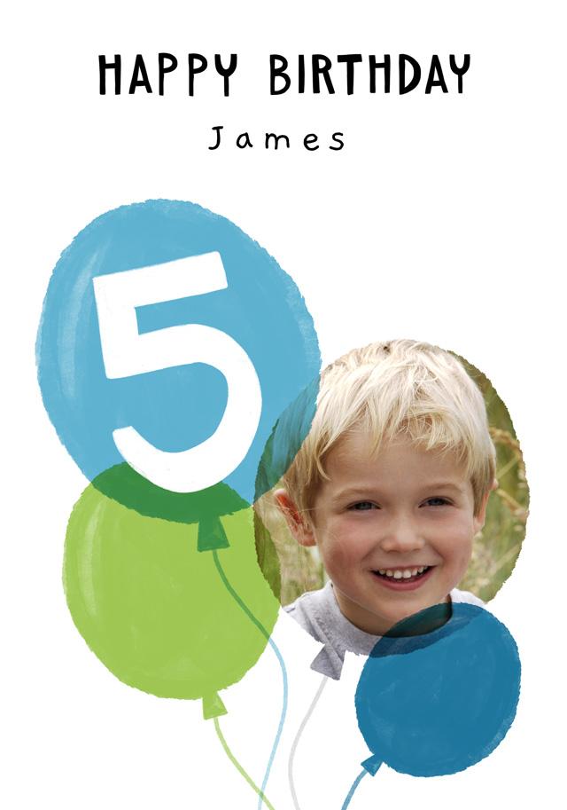 Photo Birthday Card Balloon Milestone 5