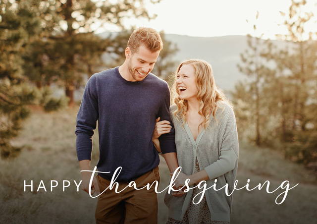 Create Landscape Thanksgiving Card Classic Script Card