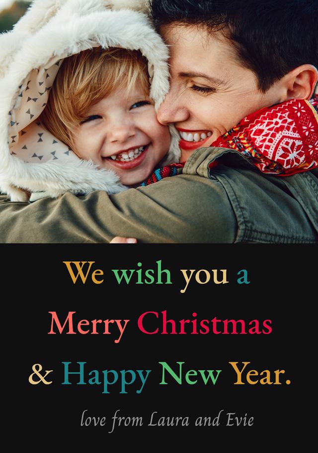 Create a Photo Christmas Card Multi Coloured Text Photo Card
