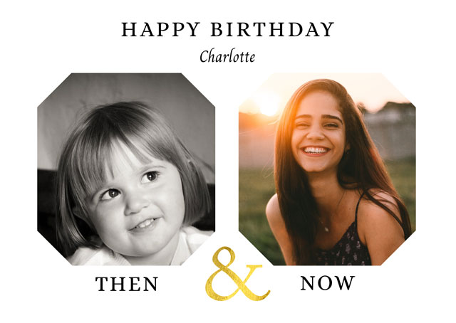 Photo Birthday Card Then & Now
