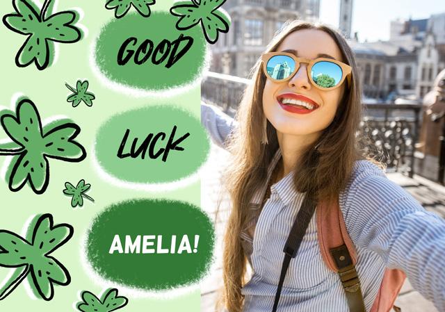 Create a Photo Card Good Luck Clovers Bubble Photo Card