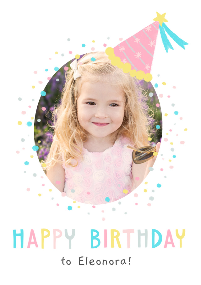 Create a Photo Birthday Card Party Hat Photo Card