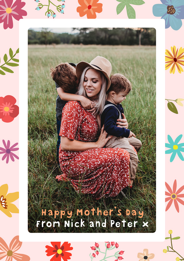 Create a Floral Border Mother's Day Photo Card
