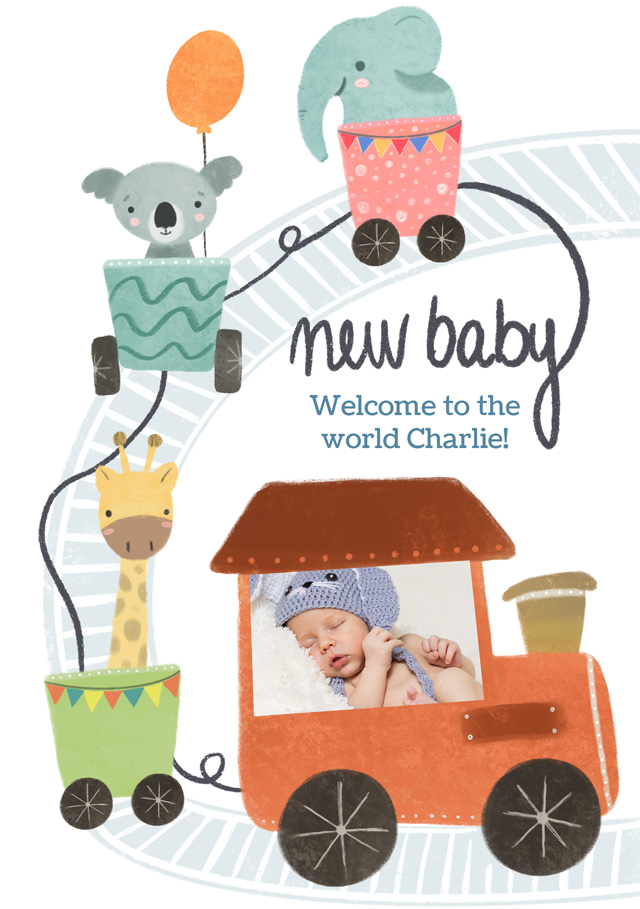 Create a New Baby Train Photo Card