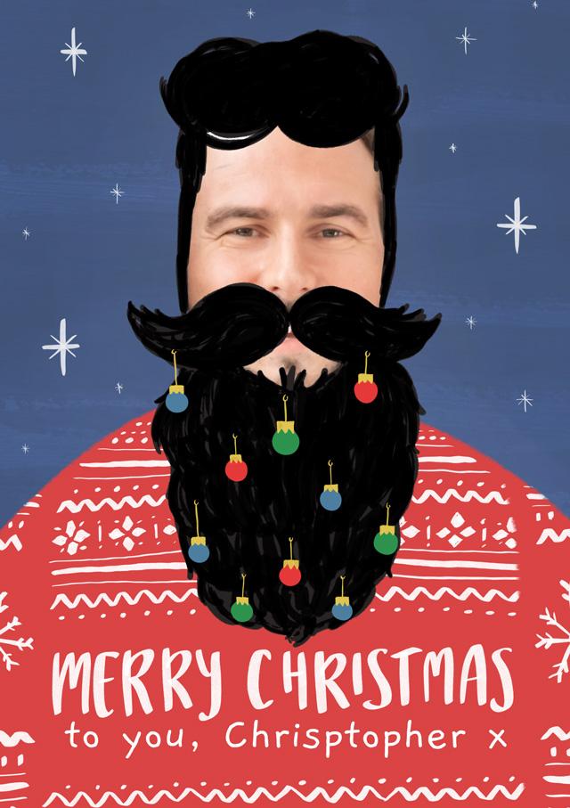 Create a Photo Christmas Card Beard  Photo Card