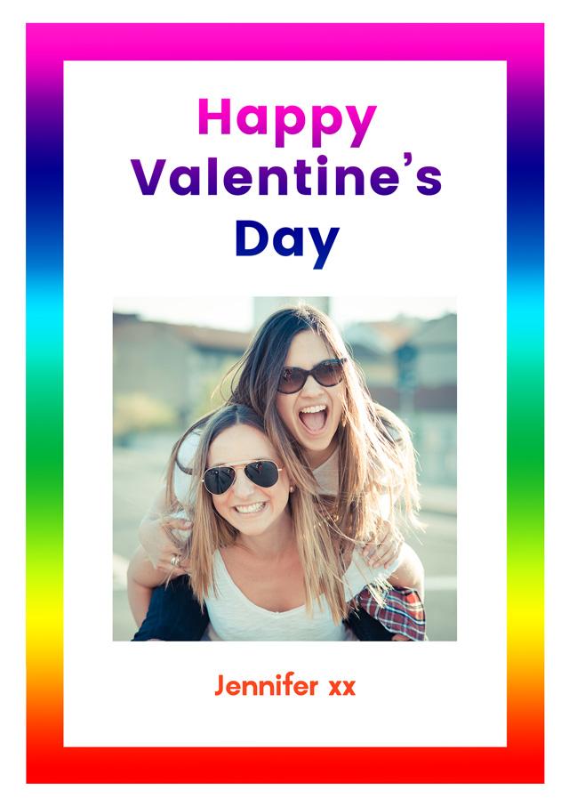 Create a Valentines Rainbow Border Greeting Card