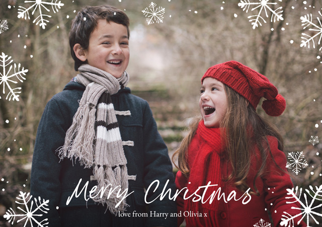Create a Snowflakes | Landscape Photo Christmas Card Photo Card